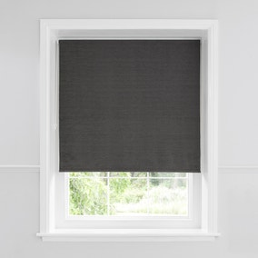 Charcoal Chenille Thermal Roller Blind