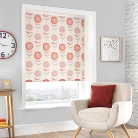 Elba Red Floral Daylight Cordless Roller Blind