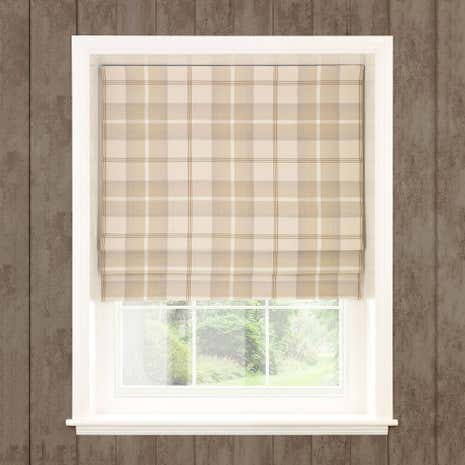 Highland Check Natural Blackout Roman Blind