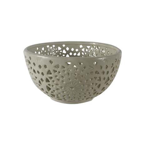Cream Ceramic Cut Out Bowl