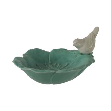 Ceramic Decorative Dish with Teal Bird