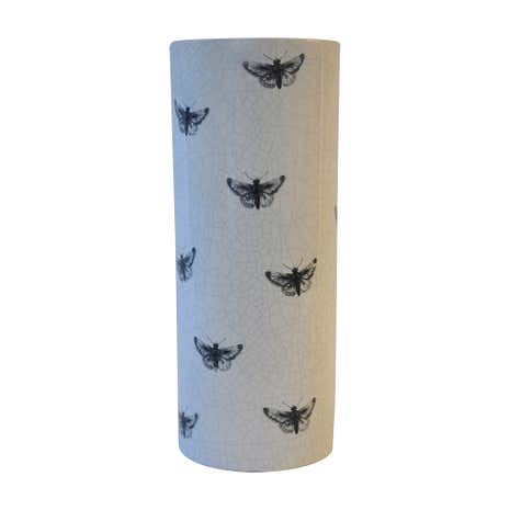 Cream Crackle Glaze Moth Print Vase
