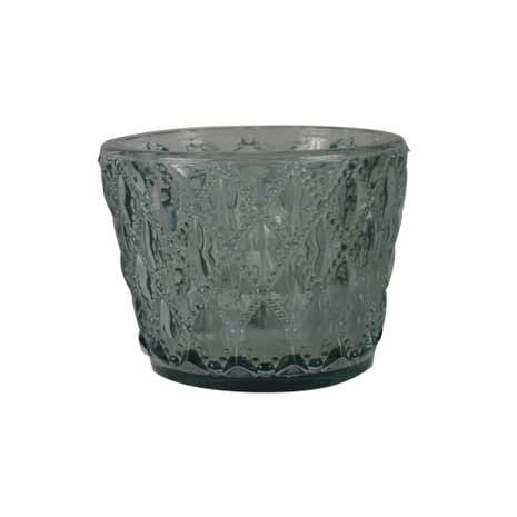 Teal Distressed Glass Tealight Holder