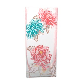 Glass Floral Printed Vase Multi