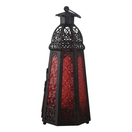 Glass Tapered Red Lantern