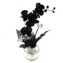 Mercury Glass Black Floral Arrangement