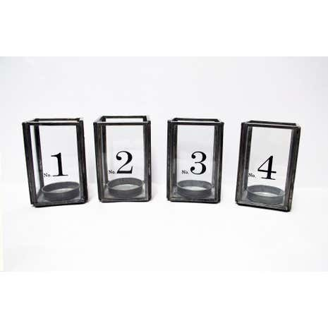 Metal Edge Numbered Glass Tealight Holders
