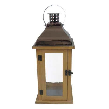 Copper Topped Wooden Lantern