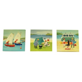 Set of 3 Mr and Mrs Fish Canvases