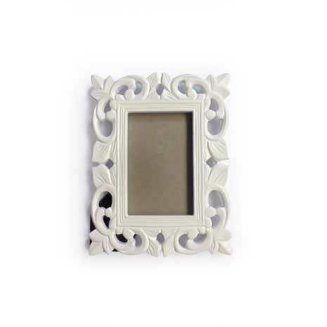 Carved Effect White Photo Frame