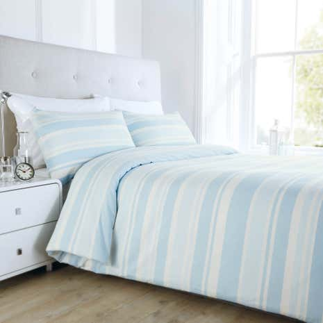 Seersucker Duck Egg Stripe Duvet Cover Set