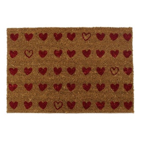 Pretty Hearts Coir Doormat
