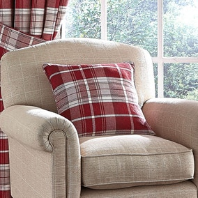 Dorma Red Bloomsbury Check Cushion