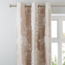 Laura Natural Jacquard Eyelet Curtains