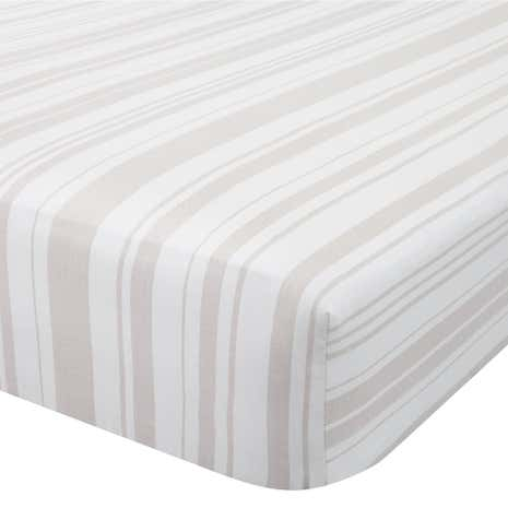 Check Natural 28cm Fitted Sheet