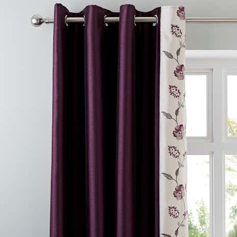 Verity Plum Thermal Eyelet Curtains