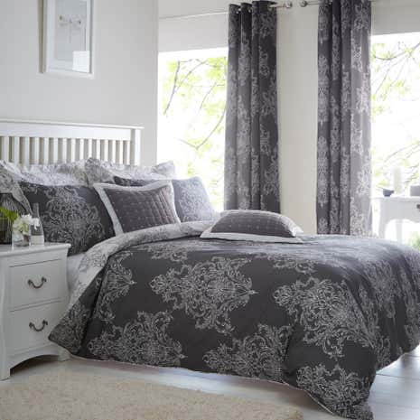 Versailles Charcoal Duvet Cover and Pillowcase Set