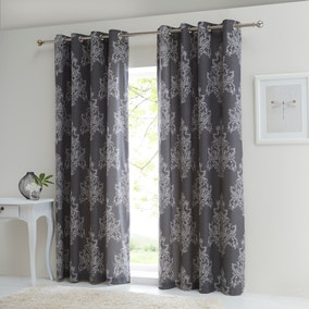 Versailles Charcoal Thermal Eyelet Curtains
