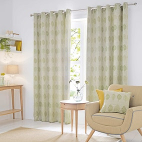 Woodbury Green Lined Eyelet Curtains