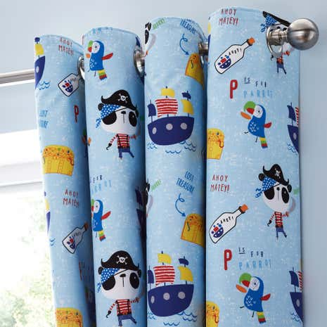 Pirate Panda Blackout Eyelet Curtains | Dunelm