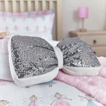 Silver Sequin Bow Cushion