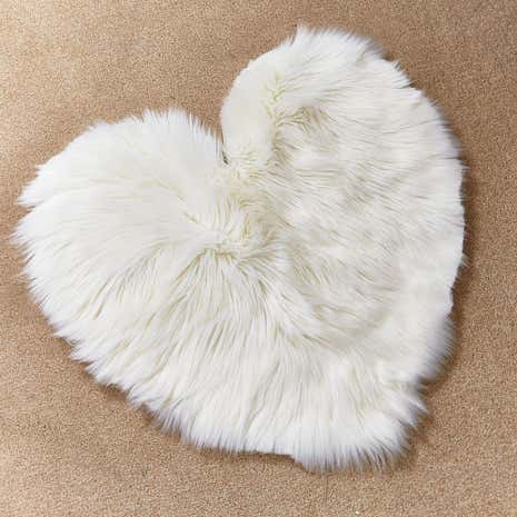 Cream Sheepskin Heart Rug