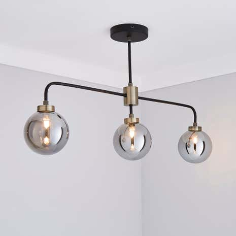 Tanner Black 3-Light Ceiling Fitting