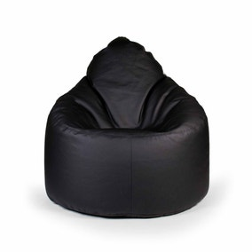 Black Leather Look Bean Lounger