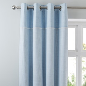 Millie Blue Thermal Eyelet Curtains