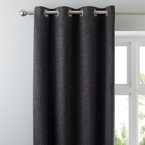 Vermont Charcoal Lined Eyelet Curtains
