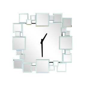 Hotel Squares Mirrored Clock