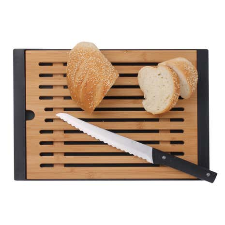 Bamboo Cutting Board With Bread Knife and Crumb Catcher 22cm Blade