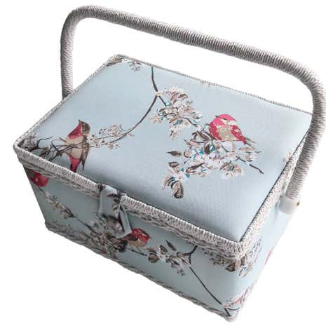 Beautiful Birds Duck Egg Sewing Box
