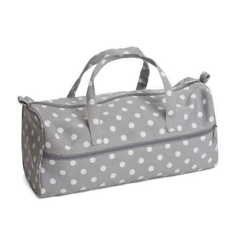Dotty PVC Matt Grey Knitting Bag