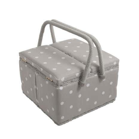 Dotty Large Grey Twin Lidded Sewing Box