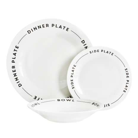 Words White 12-Piece Dinner Set
