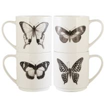 Butterflies Stacking Mugs And Stand