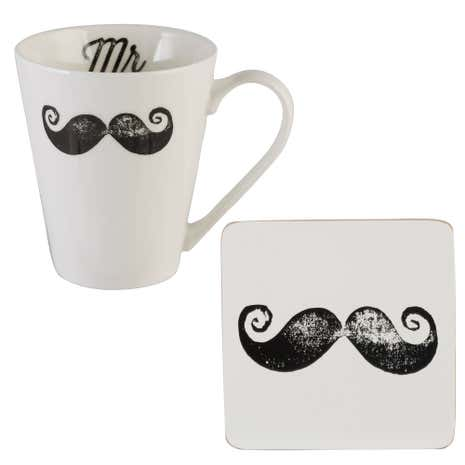 Moustache Mug and Coaster set.