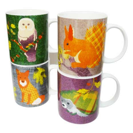 4 Pack Patchwork Animals Mugs