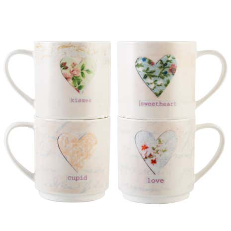 Vintage Hearts Stacking Mugs in Stand