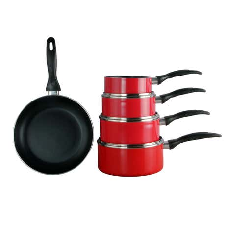 Spectrum Red 5-Piece Aluminium Pan Set