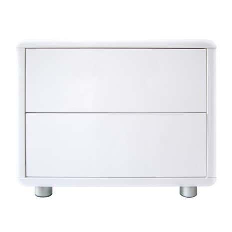 Soho White Gloss 2 Drawer Bedside Table Dunelm