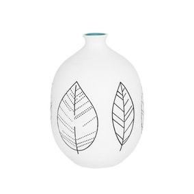 Elements White Stoneware Leaf Vase