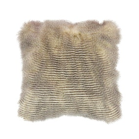 Natural Feather Faux Fur Cushion