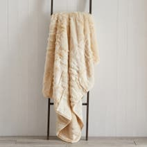 Natural Brown Faux Fur Throw