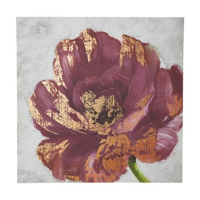 Printed Plum Floral Canvas With Foil