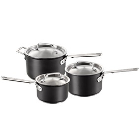 Authority Hard Anodised 3 Piece Saucepan Set