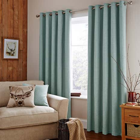 Duck-Egg Harris Lined Eyelet Curtains
