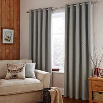 Mink Harris Lined Eyelet Curtains