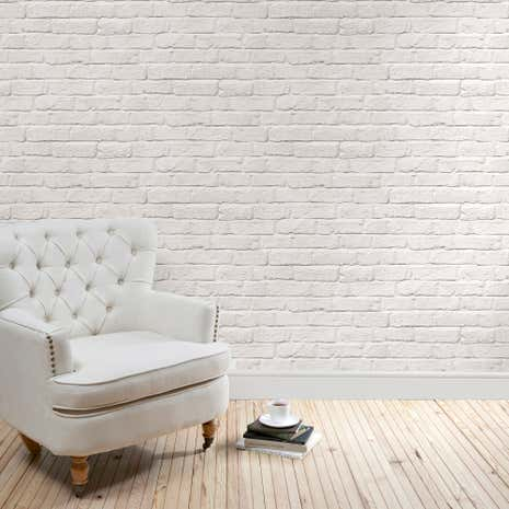 White brick wallpaper dunelm for Grey brick wallpaper bedroom